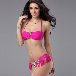 Women's Sexy Rose Red Tassels Print V Shape Bikini Swimwear Nz