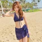 Women's Wave Pattern Steel Prop Gather Three Piece Bikini Swimsuit Nz Chest