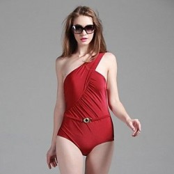 Women's Foshion Sexy One Shoulder Oen Piece Shiny Fabrics Swimsuit Nz