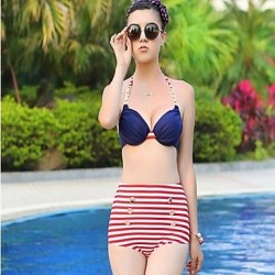 Woman's Sexy Steel Red White Striped High Waisted Bikini Care