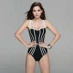 2017 New Women Fashion One Piece Bandeau Swimwear Nz Slim Spandex Fabric