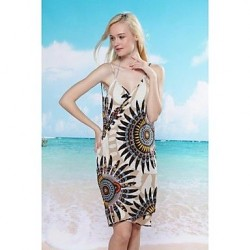 Women's Fashion Sexy Sunflowe Deep-v Swimwear Nz Swimsuit Nz Beach dress Bikini Cover-up