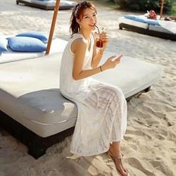 Women's Stylish Sexy White Hollow-out Kintwear Cotton Beach Strapless Vest Dress