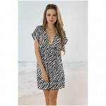 Women's Black and white zebra Classic Deep V Neck Beach Cover-up Mini Dress