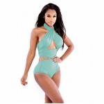Women's Wireless Solid Halter Tankinis (Polyester)