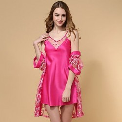 Women Silk/Ice Silk Lace Noble Lingerie/Robes Nightwear