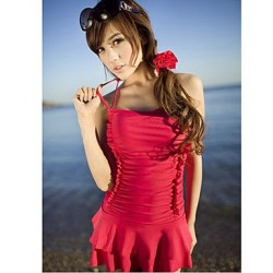 Womens Red Halter Padded Underwire Swim Dress