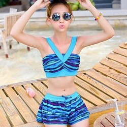 Women's Fashion Two Tone Ruffle V Neck Padded Bikini Set Swimsuit Nz Bathing Suit