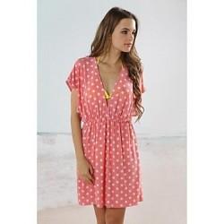 Women's Pink Dot Classic Deep V Neck Beach Cover-up Mini Dress