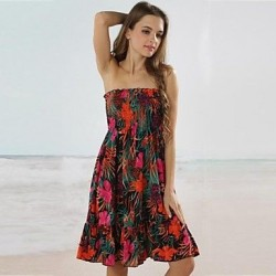 Women's Sexy Floral Print Bandeau Beach Cover-Up Dress