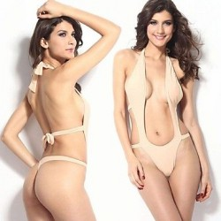 Women's Push-up Solid/Bandage/Geometric Halter One-pieces Hollow Out Bathing Suit for Women (Polyester/Spandex)