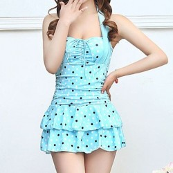Women's Fashion Halter Style Dot Pattern Slim Swimsuit Nz