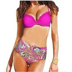 Women's Polyester Floral Print Sexy Bikinis Swimwear Nz with Pad And Wire