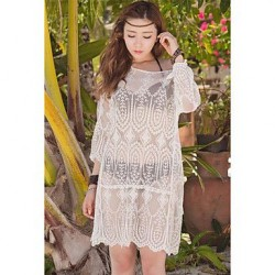 Women's Angel Like White Lace Embroidered Chiffon Kaftan