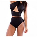 2015 New Bathing suit Sexy Black High Waist Halter Backless Polyester Plus Size Bandage Swimwear Nz Bikini Sets For Women