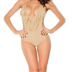PINKQUEEN Apricot Ultra-sexy V-neck One Pieces Fringe Bikini Swimsuit Nz