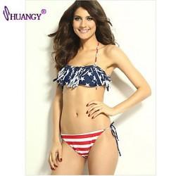 syu®Women's Wireless Tassels/Geometric Halter Bikinis (Polyester/Spandex)