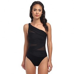 Women's Wireless Solid/Mesh Halter One-pieces (Mesh/Polyester/Spandex)