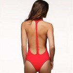 Women's Sexy Plunge Neck Monokini with T Back