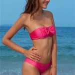 Sexy Bikini Women's Swimwear Nz Pink Strapless Bowknot Back Buckle 4102