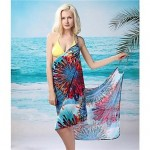 Women's Stylish Sexy Blue Colourful Printing Deep V Bare Back Gallus Beach Dress