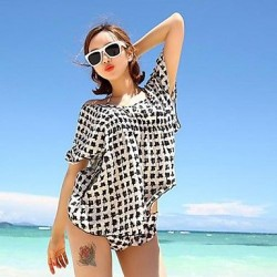 Women's Ice Silk Black and White Blouse Beach Clothes