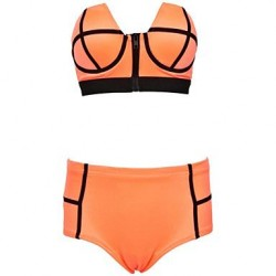 Nzswimwear鈩omen Zipper Colorful High Waist Bikini Set