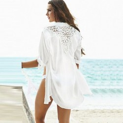 White beach cover up half sleeve 2019 new beach shirt fashion design women summer beach shirt hollow out lace cover
