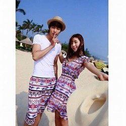 Fashionable Colorful Prismatic Stripe Lovers Beach Dress and Pants (Men and Women Two Sets)