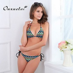 OUXL®Women's Wireless/Padded Bras Color Block/Floral/Dot/Bandage/Geometric Bandeau Bikinis (Nylon/Polyester)