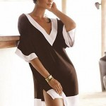 Brown and white fashion beach clothes deep v-neck sexy swimsuit cover ups women brand beach wear dress