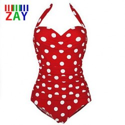 Nzswimwear Women's Sexy Plus Size Wireless Dot Halter One-pieces