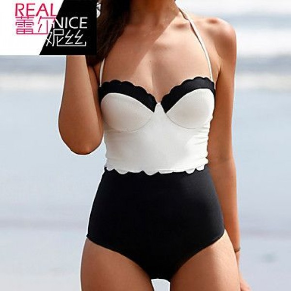 Women's Padded Bras/Underwire Bra Color Block Halter One-pieces (Polyester)