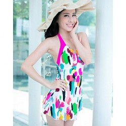 Women's Sexy Summer Beach Push Up One Pieces Skirt Style Swimwear Nz Fuchsia
