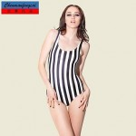 Nzswimwear®Women's Sexy Black White Strip Elasticated Bathing Suit Print Bodycon Jumpsuit