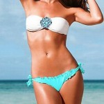 Women's Wireless Color Block Halter Bikinis (Nylon)
