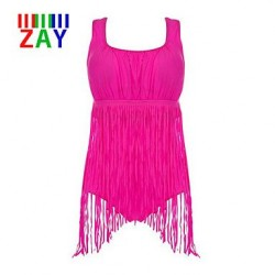 Nzswimwear Women's Push-up Tassels Solid Halter One-pieces