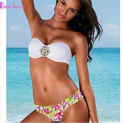 Women's Push-up/Wireless/Padded Bras Color Block/Floral/Geometric Bandeau Tankinis (Cotton Blends/Polyester/Spandex)
