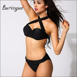 Burvogue Women's Black Slim Bandage Padded Monokini Swimwear Nz Swimsuit Nz Bikini Set