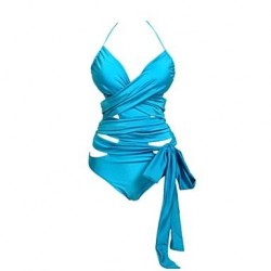 Women's Sexy Fashion Candy Colors Cross Bandage One Piece Swimsuit Nz Beachwear