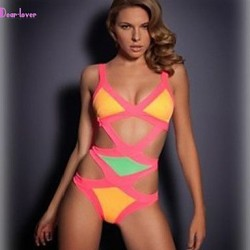 Women's Push-up/Wireless/Padded Bras Color Block/Bandage Halter One-pieces (Polyester/Spandex)