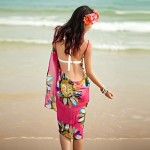 HOT Beach Scarf New Sexy Chiffon Summer Swimwear Nz Dress Beach Cover Up Floral Pareo Sarongs Bikini Scarves
