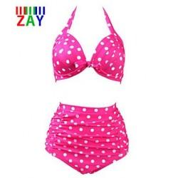 Nzswimwear Women's Sexy Push-up High Waist Dot Print Halter Bikinis Set