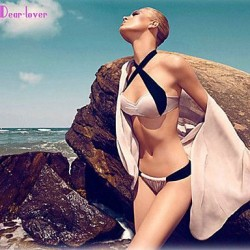 Women's Push-up/Underwire Bra/Padless Bra Color Block/Bandage Halter Bikinis (Polyester/Spandex)