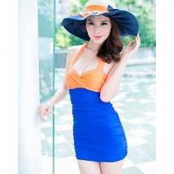 Women's Sweet Summer Beach Color Block Push Up One Pieces Swimwear Nz