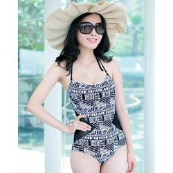 Women's Sexy Gauze Summer Beach Push Up Black Stitching Floral One Pieces Swimwear Nz