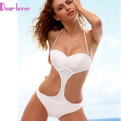 Women's Push-up/Padless Bra Solid Halter One-pieces (Polyester/Spandex)