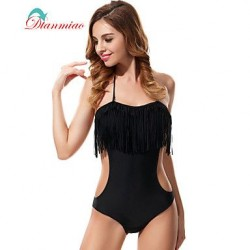 Sexy One Piece Swimwear Nz Fringe Bandeau Women's Swimsuit Nz Tassel Backless Padded Black Bathing Suit BK-776