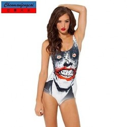 Nzswimwear®Women's Sexy The Joker Elasticated Swimming Suit Sexy Print Bodycon Jumpsuit Top
