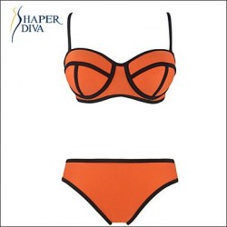 Shaperdiva Women's Sexy Push Up Pure Color 2pcs Straps Bikini Sets